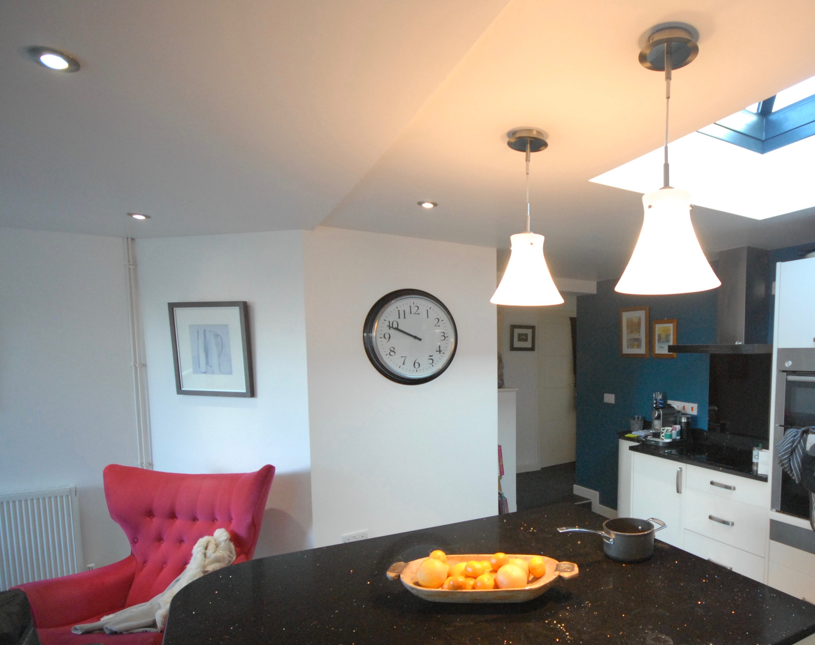 This kitchen required a full clean down of the walls and ceiling, prior to being given a full decorative makeover. Using pure brilliant white and a contrasting teal colour to the cooking area.